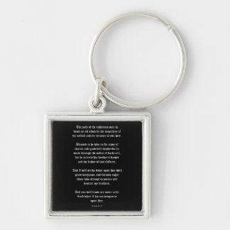 Ezekial 25:17 Black Silver-Colored Square Key Ring