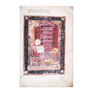 Ezra writing the sacred books canvas print