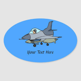 F16 Falcon And Pilot Cartoon Design Oval Sticker