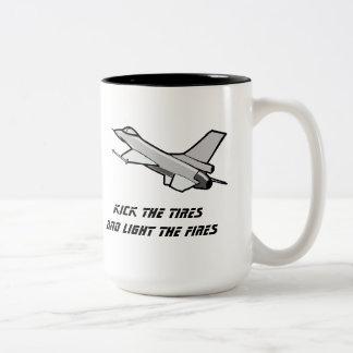 F16 Fighting Falcon In Flight Mug