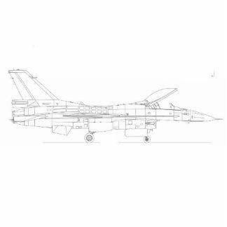 F16 Fighting Falcon Schematic Standing Photo Sculpture
