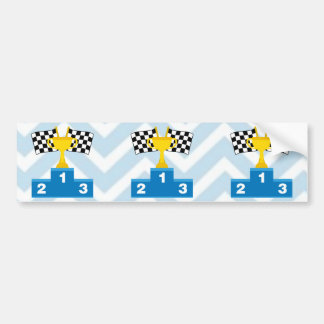 F1 Car Racing Flags Trophy and Ranking on Chevron Bumper Sticker