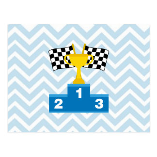F1 Car Racing Flags Trophy and Ranking on Chevron Postcard