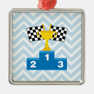 F1 Car Racing Flags Trophy and Ranking on Chevron Silver-Colored Square Decoration