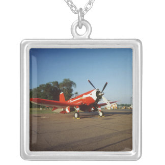 F2G-1D Super Corsair airplane at an air show in Silver Plated Necklace
