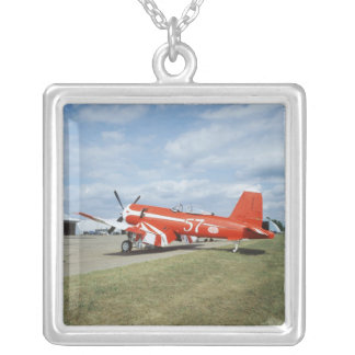 F2G-1D Super Corsair airplane at the air show in Silver Plated Necklace