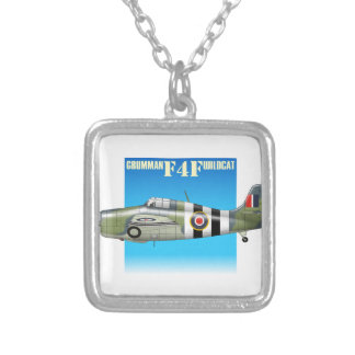 f4f wildcat side view silver plated necklace