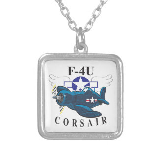 f4u corsair silver plated necklace