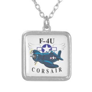 f4u corsair square pendant necklace