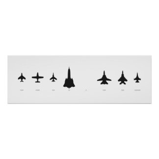F9-16 Fighter Sihlouettes Poster