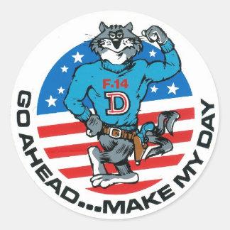F-14 Make My Day Classic Round Sticker