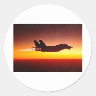 F-14 TOMCAT IN AFTERBURNER ROUND STICKER