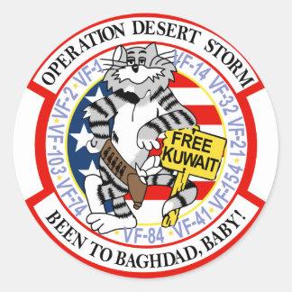 F-14 Tomcat Operation Desert Storm Classic Round Sticker