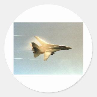 F-14 TOMCAT WITH VAPOR CLASSIC ROUND STICKER