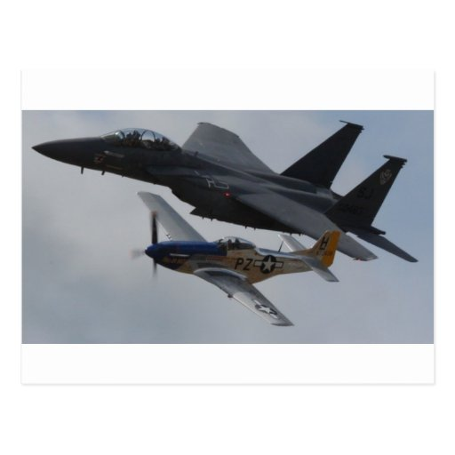 F-15 EAGLE + P-51 MUSTANG FORMATION POST CARD