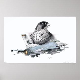 F-16 Falcon and Falcon Poster