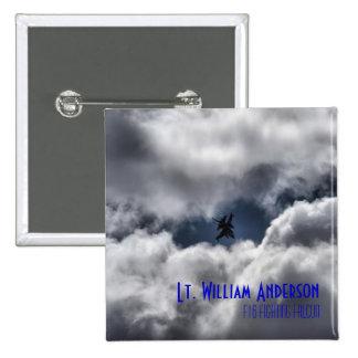 F-16 Falcon Jet Pilot in the Cloudy Sky 15 Cm Square Badge