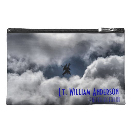 F-16 Fighting Falcon in the Cloudy Sky Travel Accessory Bags