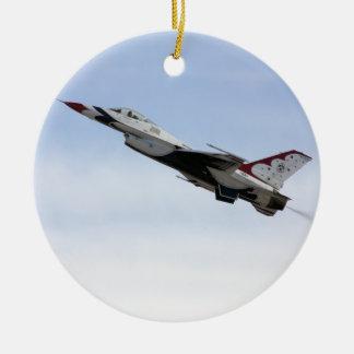 F-16 Thunderbird In Flight Round Ceramic Decoration