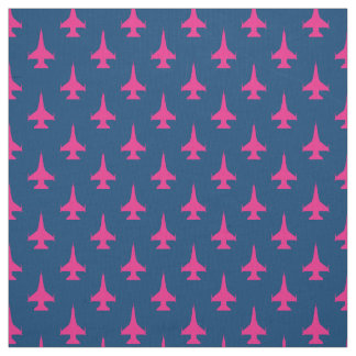 F-16 Viper Fighter Jet Pattern Fuchsia Fabric
