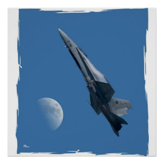 F-18 and moon poster