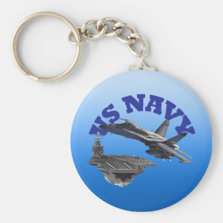 F 18 Hornet and the USS Truman Basic Round Button Key Ring