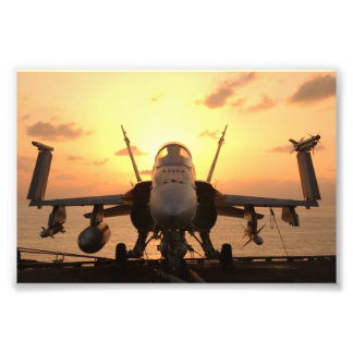 F-18 Hornet at sea aboard US Aircraft Carrier Photograph