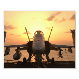 F-18 Hornet at sea aboard US Aircraft Carrier Photo Print