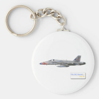F-18 with VFA-146 Blue Diamonds Squadron Basic Round Button Key Ring