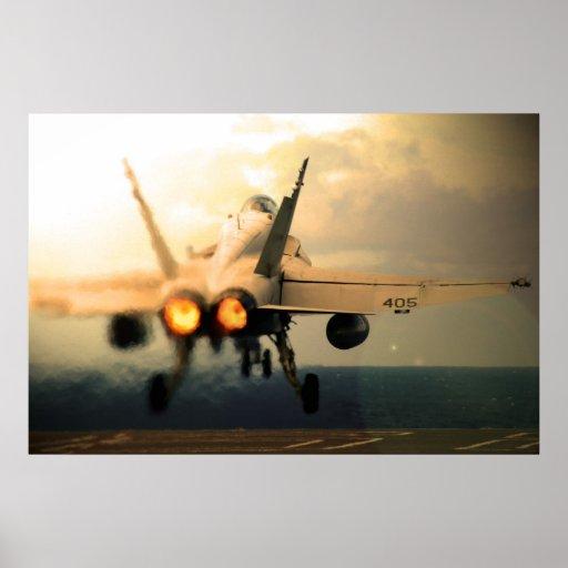 F-18C Hornet Carrier Afterburner Takeoff Poster