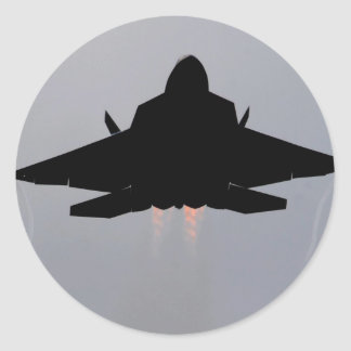 F-22 LEAVING GUAM ROUND STICKER