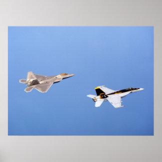 F-22 Raptor  and FA-18 Super Hornet Poster