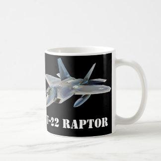 F-22 Raptor Fighter Jet on Black Coffee Mug