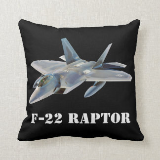 F-22 Raptor Fighter Jet on Black Cushion