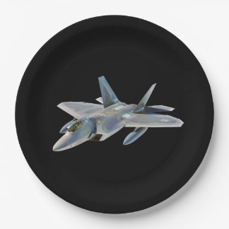F-22 Raptor Fighter Jet on Black Paper Plate