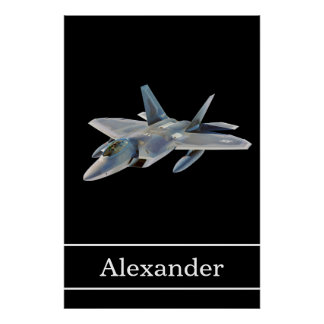 F-22 Raptor Fighter Jet with Name Poster