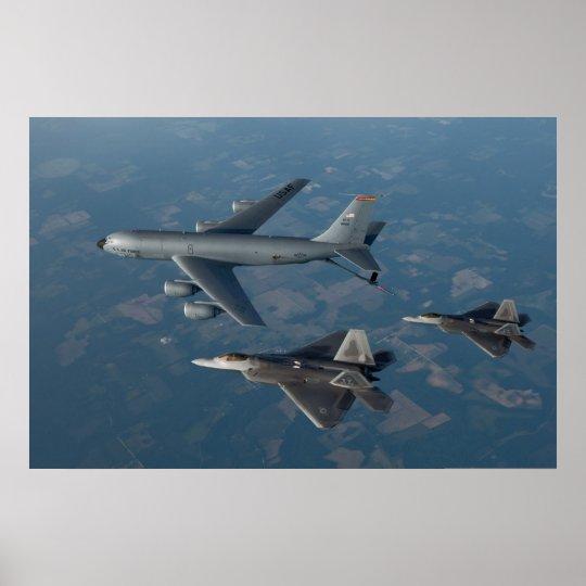 F-22 Raptors and KC-135 Stratotanker Poster
