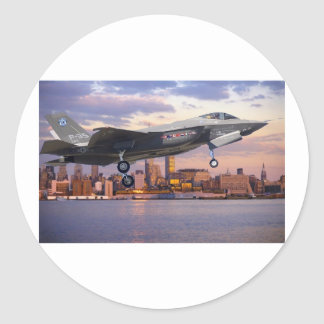 F-35 LIGHTNING FIGHTER AIRCRAFT CLASSIC ROUND STICKER