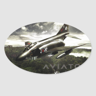 F-4 Phantom Fighter Jet Oval Sticker