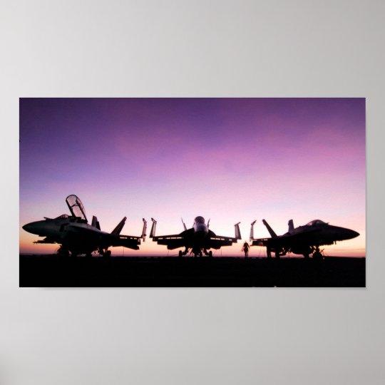 F/A 18 Hornet Aircraft at Sunset Poster