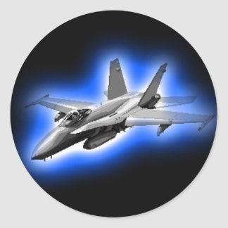 F/A-18 Hornet Fighter Jet Light Blue Classic Round Sticker