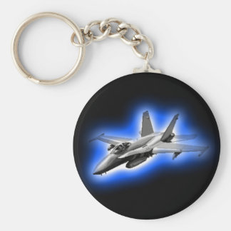 F/A-18 Hornet Fighter Jet Light Blue Key Ring