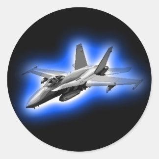 F/A-18 Hornet Fighter Jet Light Blue Round Stickers