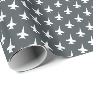 F/A-18C Hornet Fighter Jet Pattern on Gray Wrapping Paper