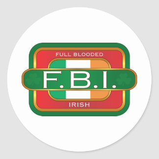 F B I Irish Classic Round Sticker