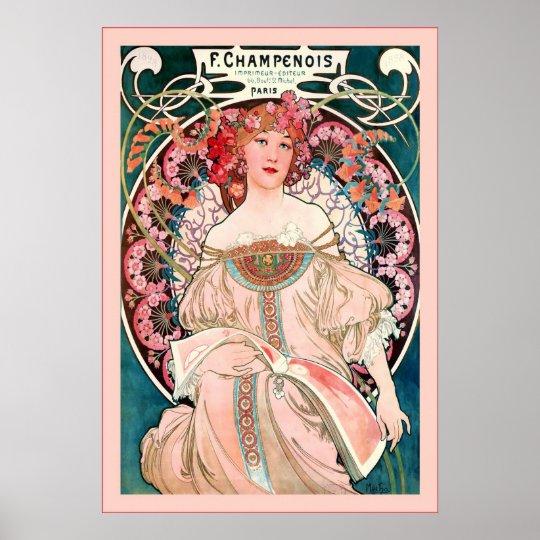 F. Champenois Imprimeur-Editeur  ~ Alphonse Mucha Poster