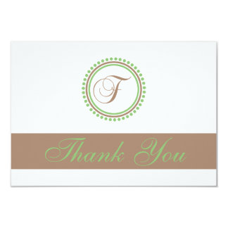F Dot Circle Monogam Thank You Cards (Brown/Mint) Invitation