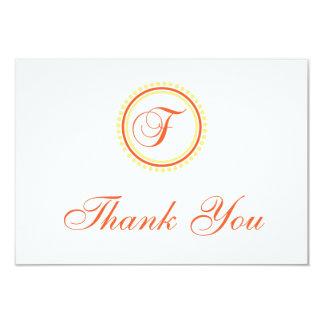 F Dot Circle Monogam Thank You (Orange / Yellow) 9 Cm X 13 Cm Invitation Card