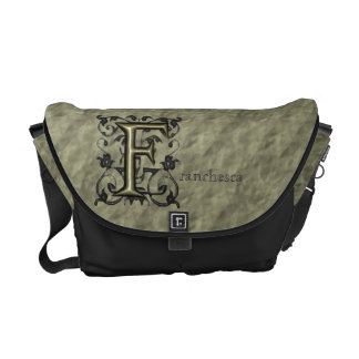 F - Embossed Vintage Monogram (Gold) Courier Bag