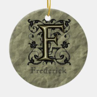 F - Embossed Vintage Monogram (Gold) Round Ceramic Decoration